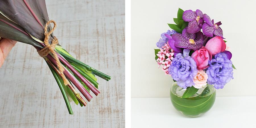 ラッピングが選べる薔薇と蘭の花束花瓶セット